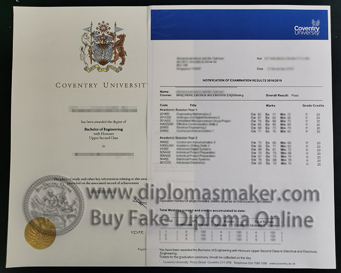 Coventry University degree and transcript