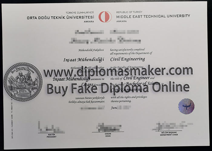 Middle East Technical University BEng dgree diploma