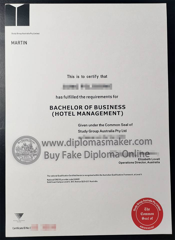 Study Group Australia Pty Limited certificate