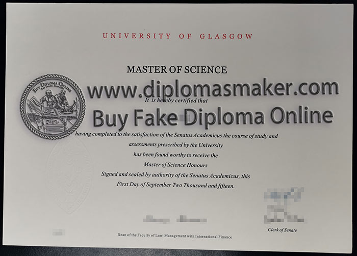 fake The University of Glasgow degree certificate