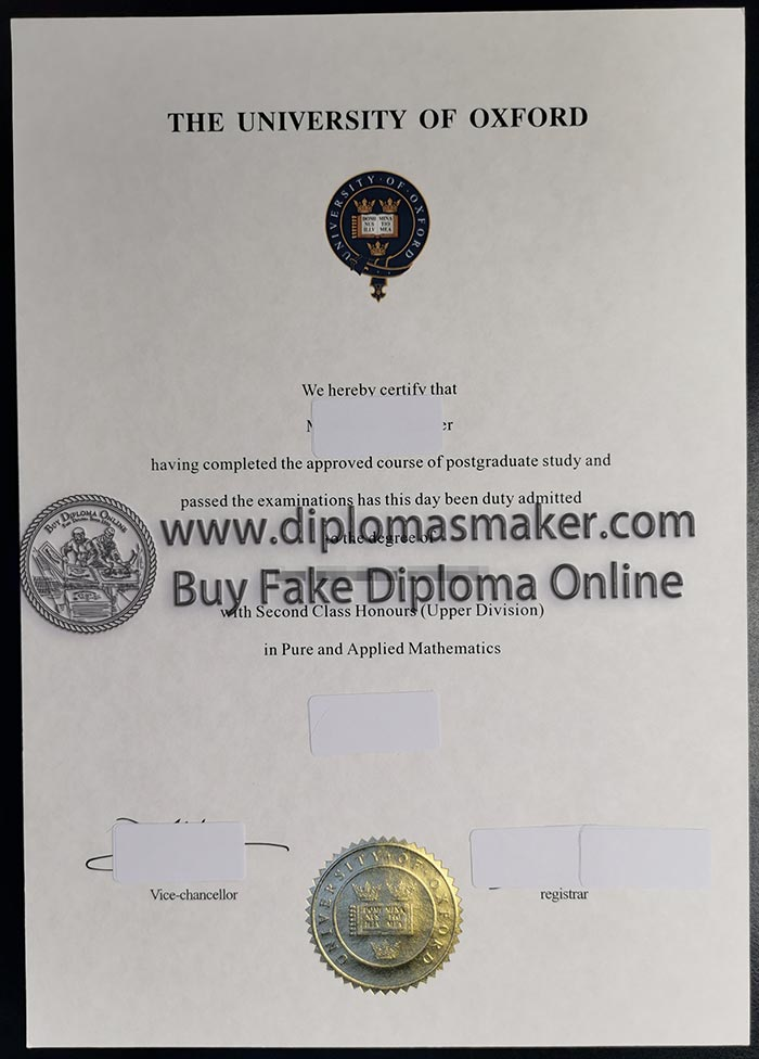 University of Oxford degree certificate sample