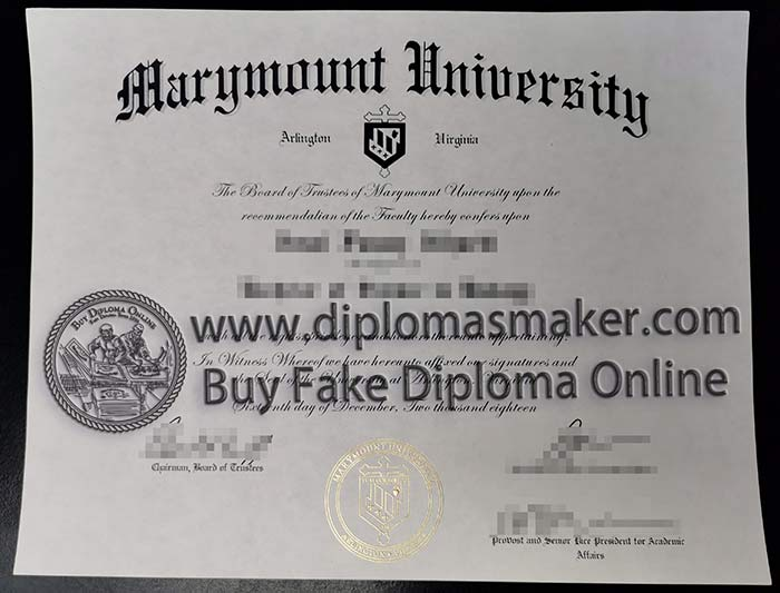 Marymount University fake diploma certificate sample