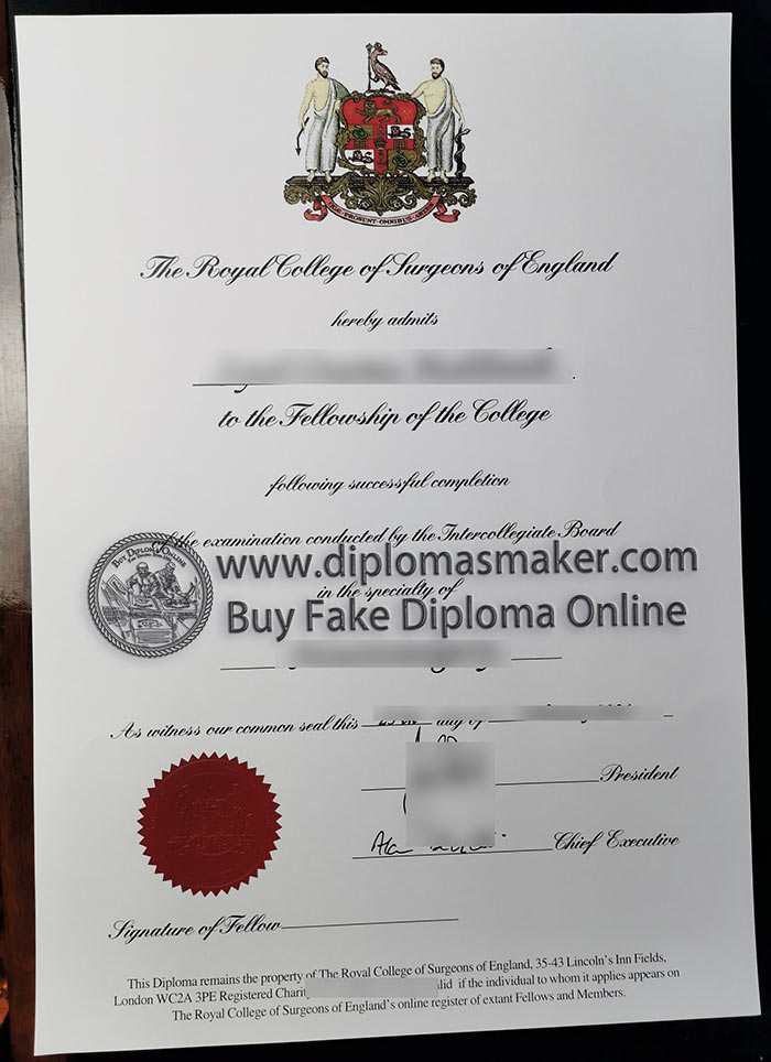 Sample of fake diploma certificate from Royal College of Surgeons