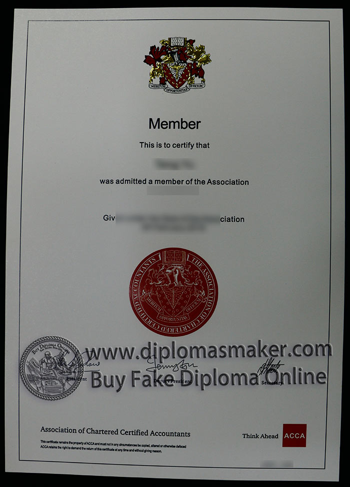 ACCA fake accounting certificate sample
