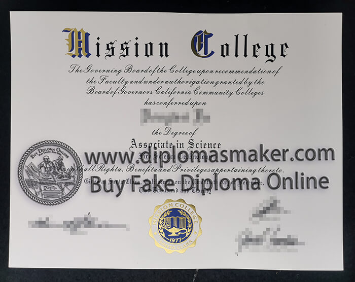 buy fake Mission College diploma