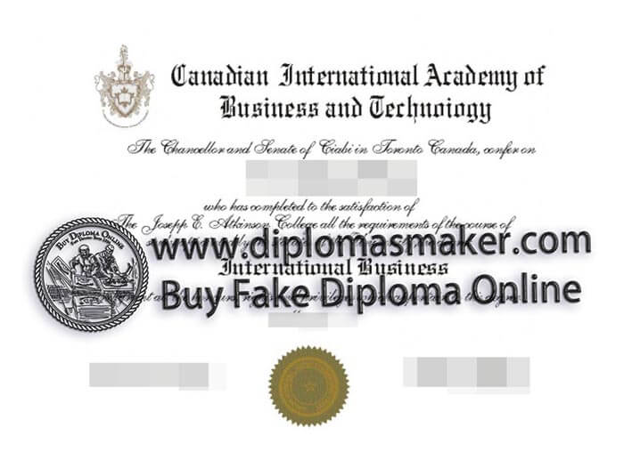 buy Canadian International Academy of Business and Technology certificate